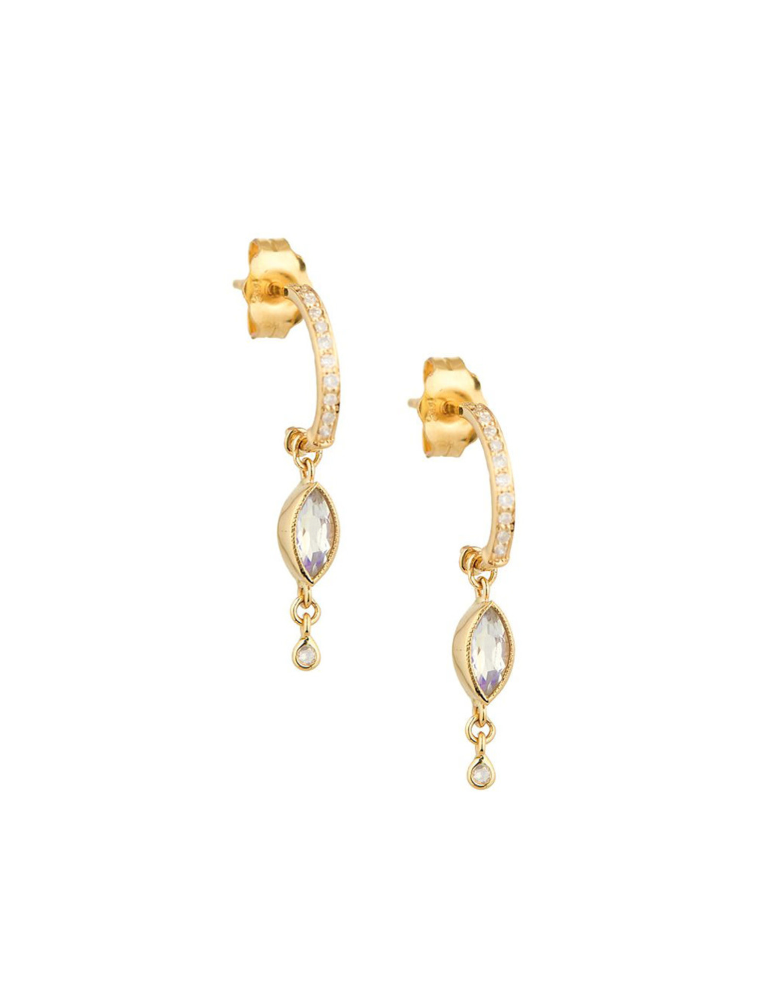 Celine Daoust Dangling Moonstone + Diamond Hoop Earrings