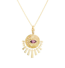 Celine Daoust Sun Beams Medallion Necklace - Marquise Pink Tourmaline + Diamonds