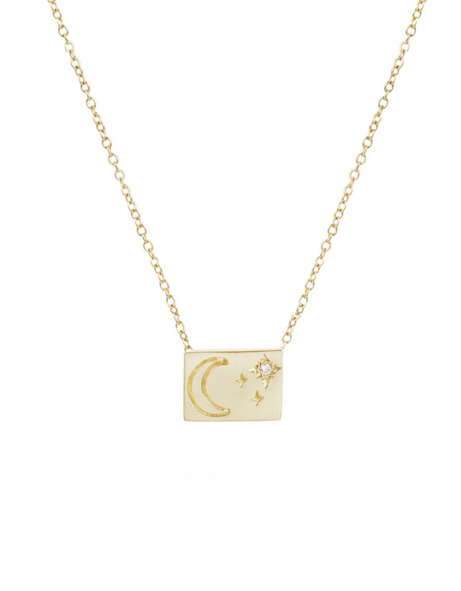 Aili Moon & Stars Postcard Charm Necklace