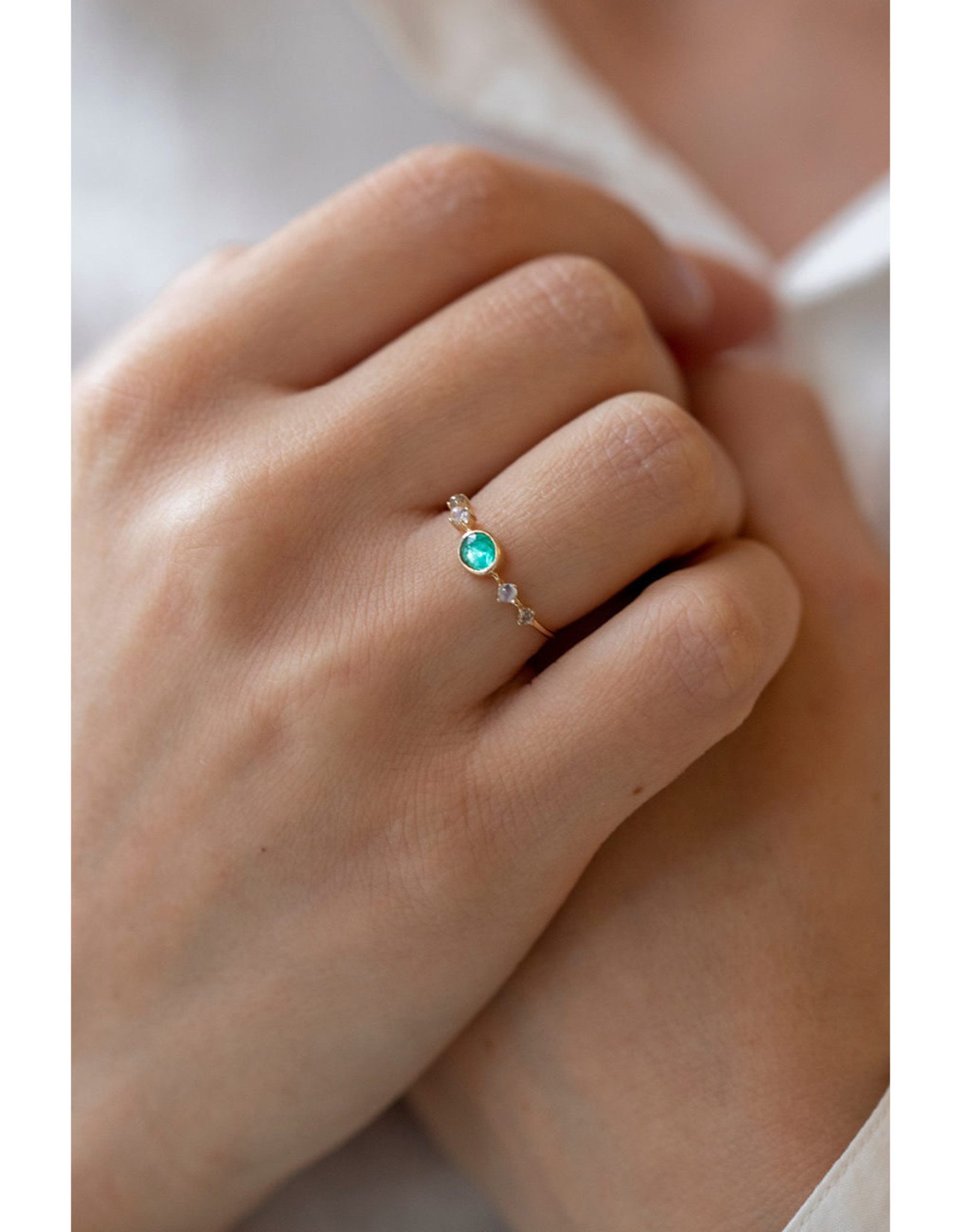 Celine Daoust Vivid Green Emerald + Moonstone + Diamonds Ring