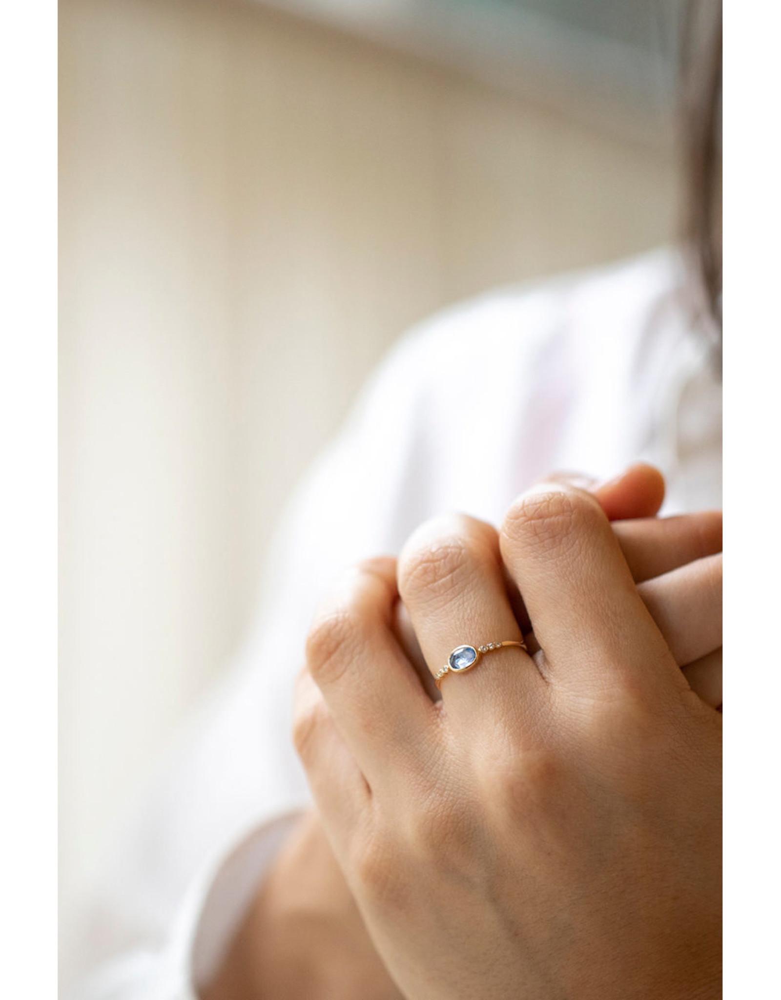 Celine Daoust Blue Sapphire + 6 Diamonds Ring