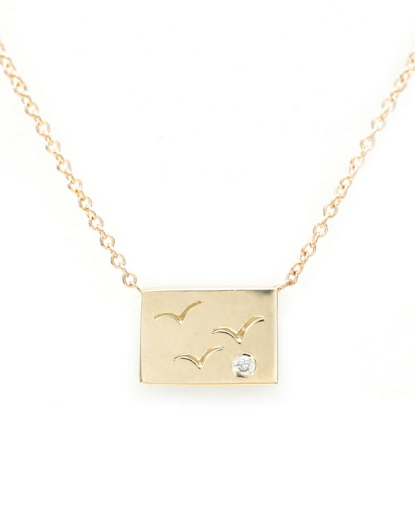 Aili Birds Postcard Charm Necklace