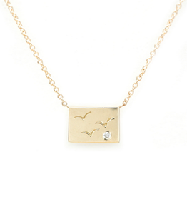Aili Birds Postcard Charm Necklace