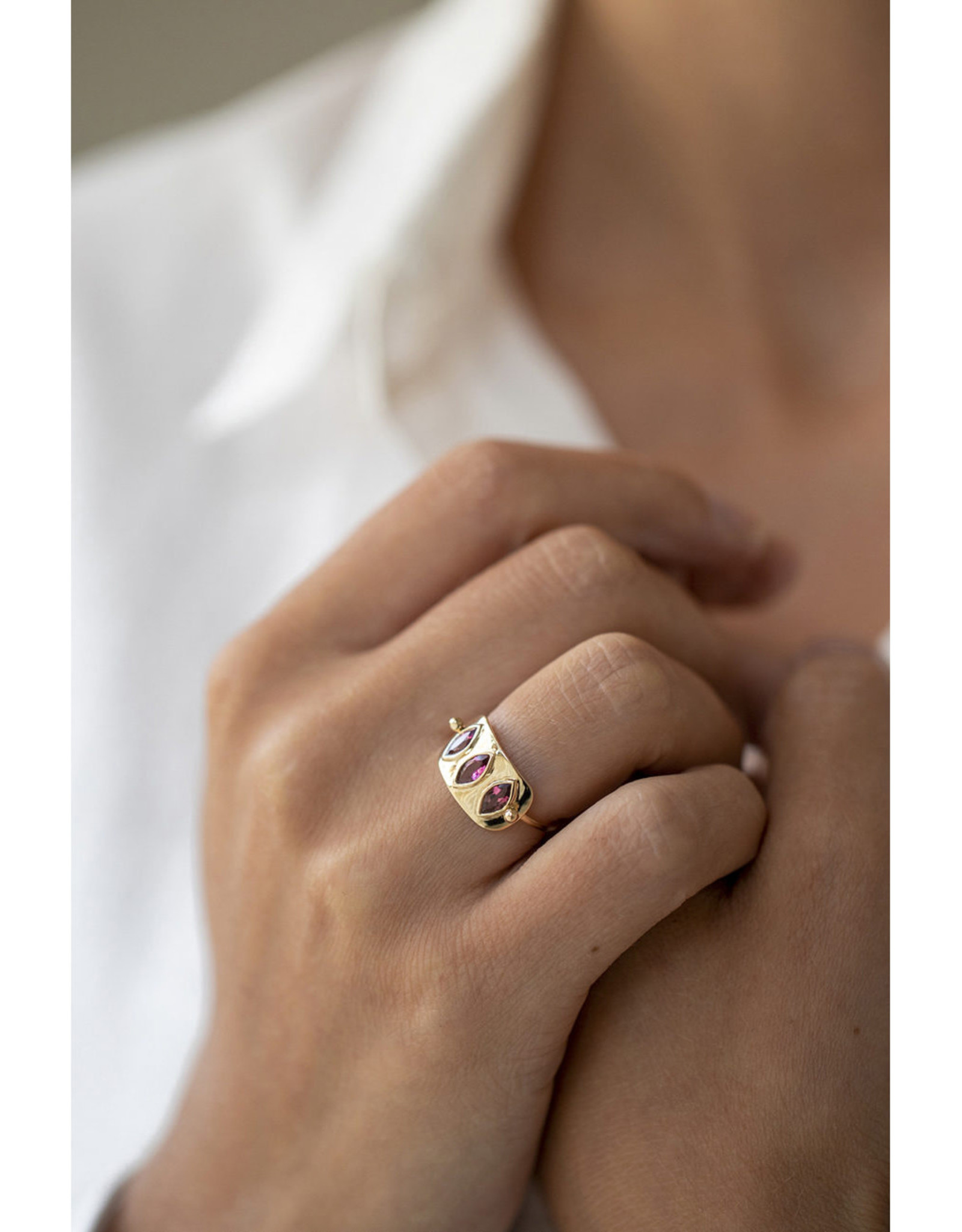 Celine Daoust Triple Marquise Plate Ring - Pink Tourmaline