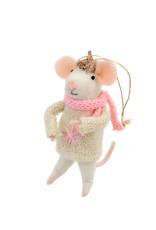 Indaba Bundled Up Betty Mouse Ornament