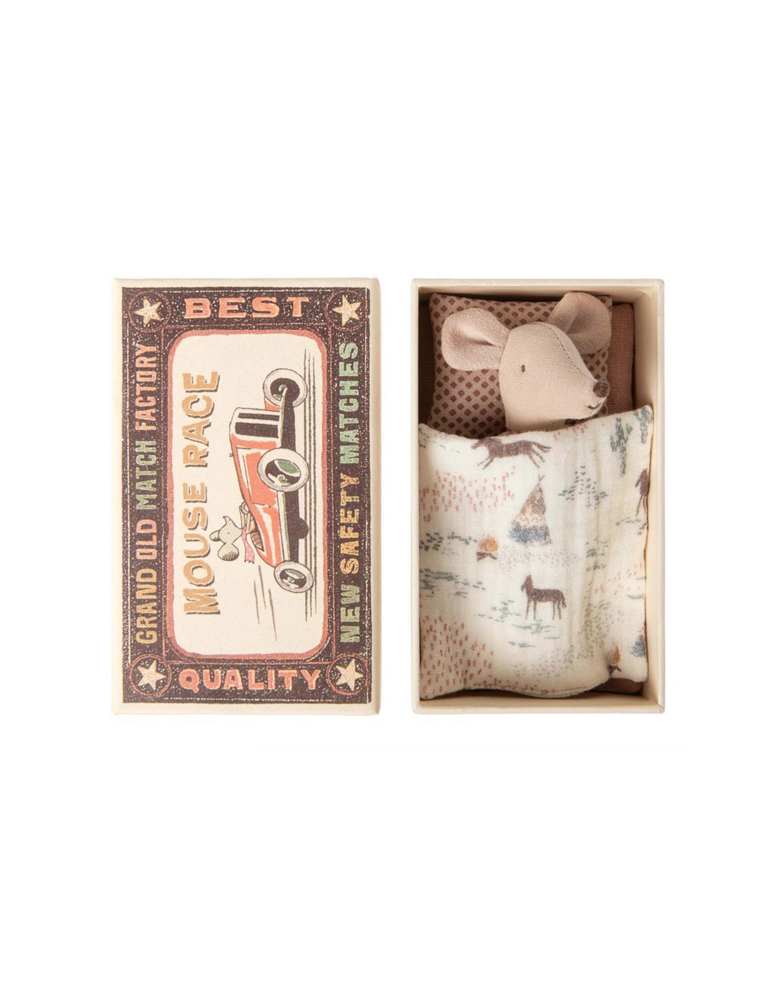 Maileg Little Sister Mouse in Box - Pink Checkered Shirt + Goldenrod Skirt