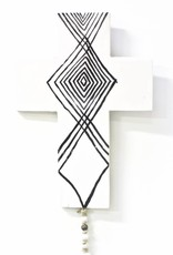 Entouquet Black + White Tribal Cross Tile with Clay Attachment