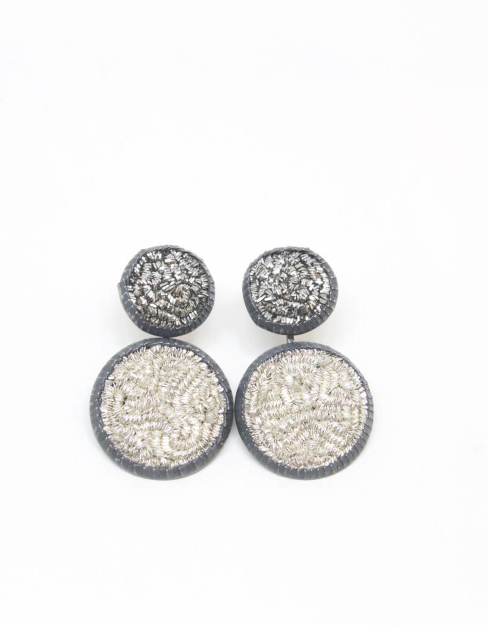 Himatsingka Sparkler 14mm Antique/20mm Silver Double Drop Earrings