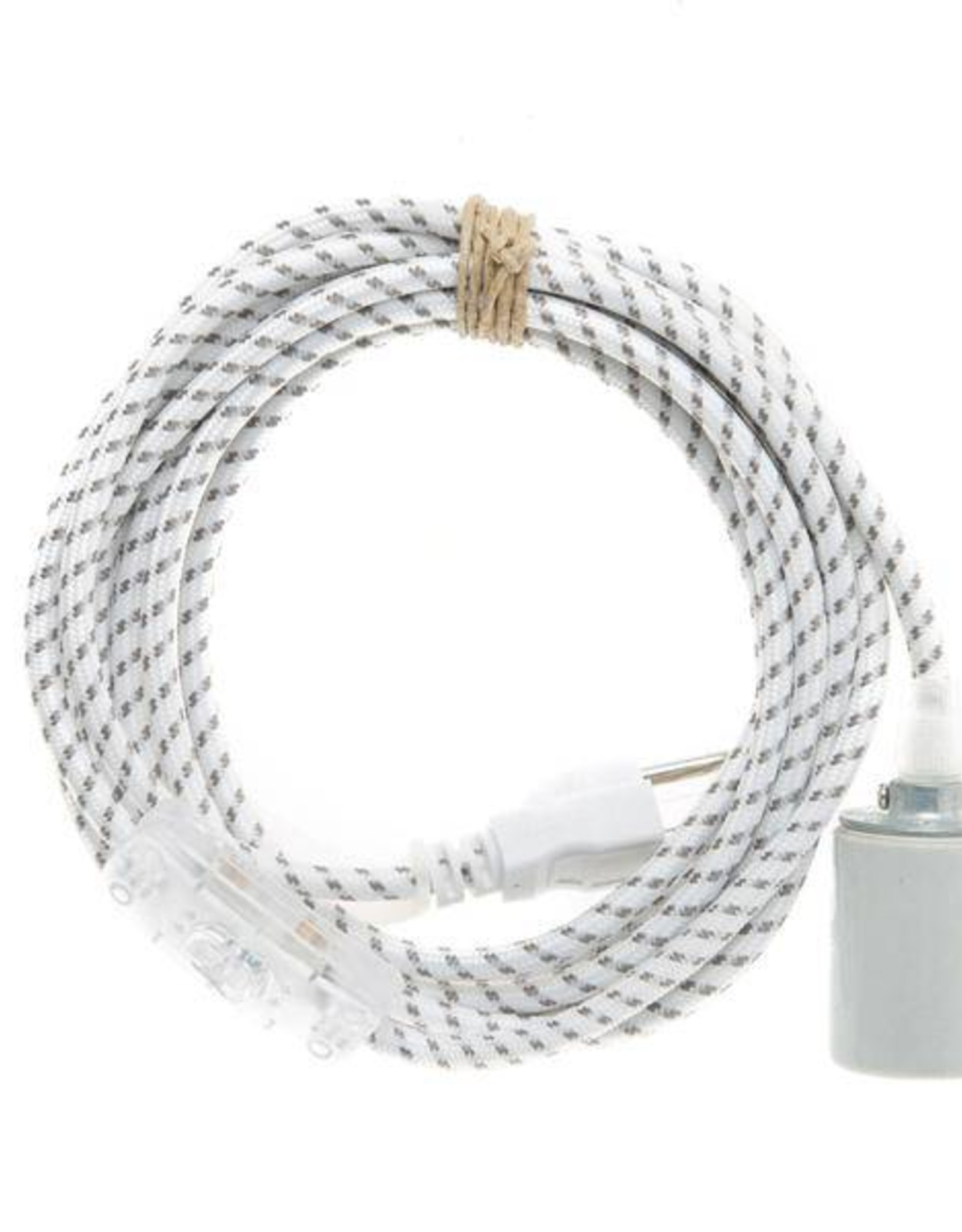 Color Cord Company Porcelain Plug-In Light Cord - White with Grey Dots