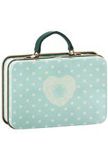Maileg Metal Suitcase - Baby Blue + Cream Polkadots