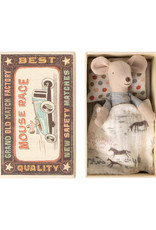 Maileg Little Brother Mouse in Box - Blue Checkered Shirt + Jeans