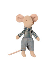 Maileg Little Brother Mouse in Box - Plaid Collared Shirt + Jeans