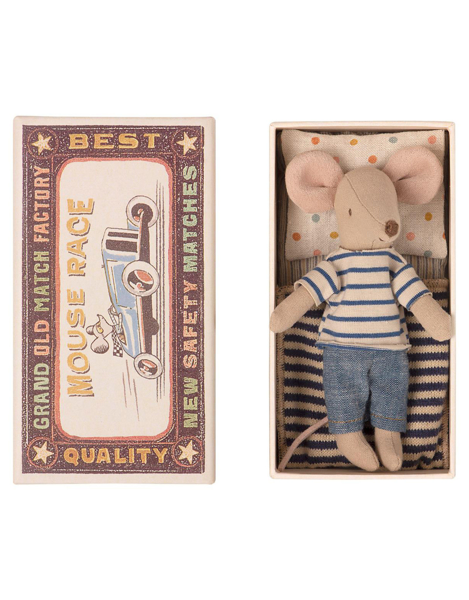 Maileg Big Brother Mouse in Box - Blue Striped Shirt