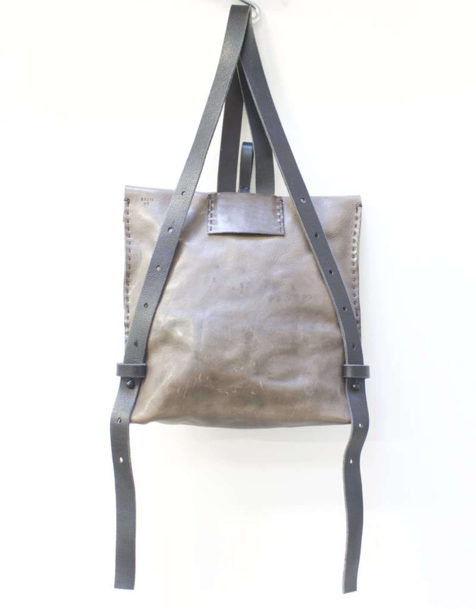 Engso Hand Crafted Convertible Leather Bag - Grey & Taupe