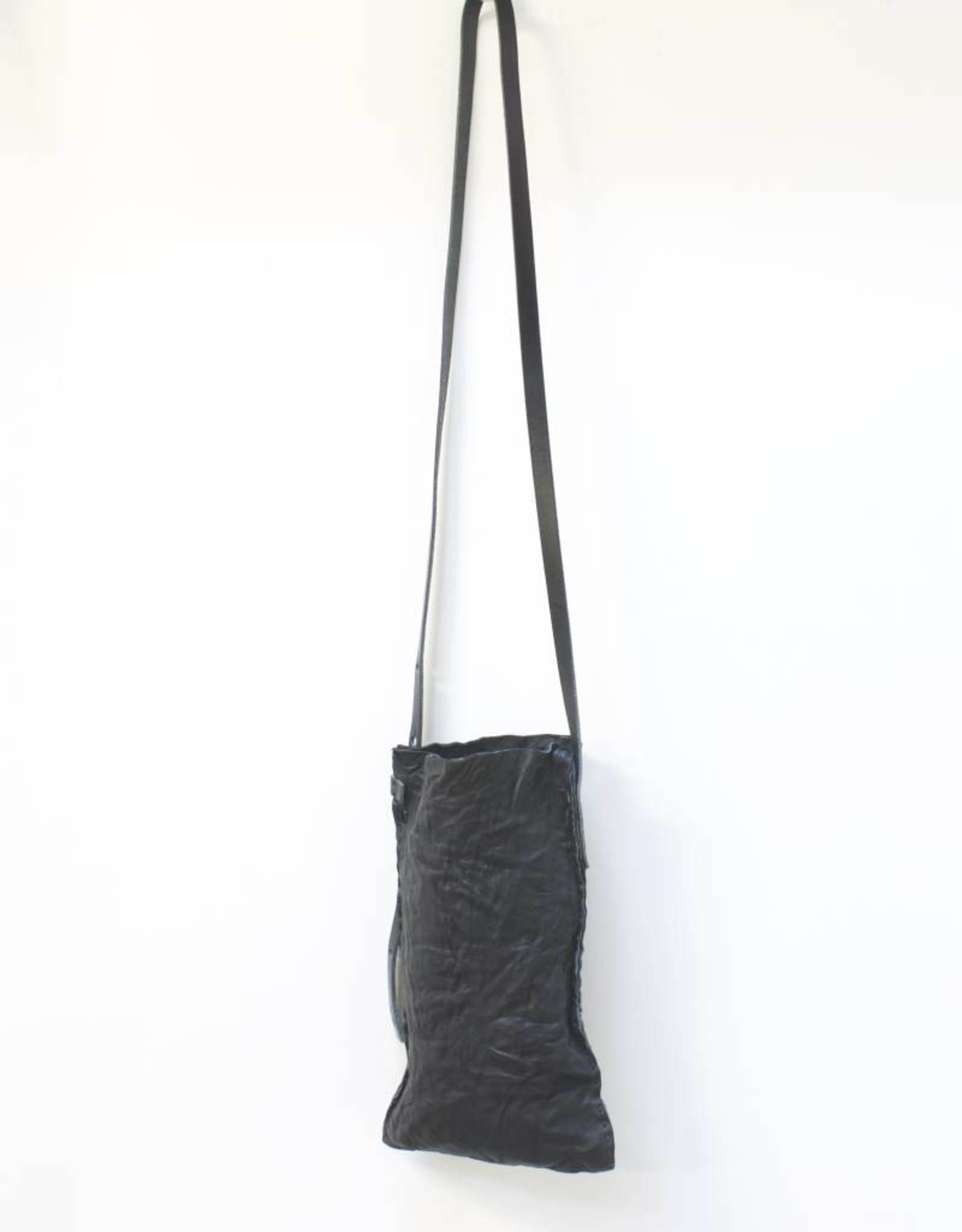 Engso Hand Crafted Long Cross-Body Leather Bag - Black