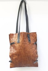 Engso Hand Crafted Double Leather Bag - Tan with Black Straps
