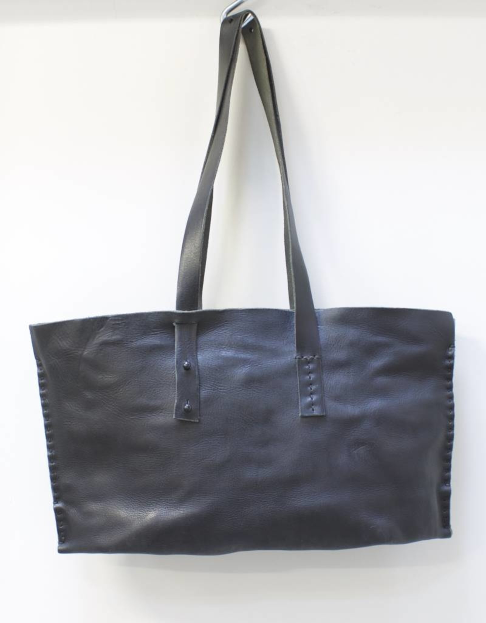 Engso Hand Crafted Wide Leather Bag with Double Strap - Black