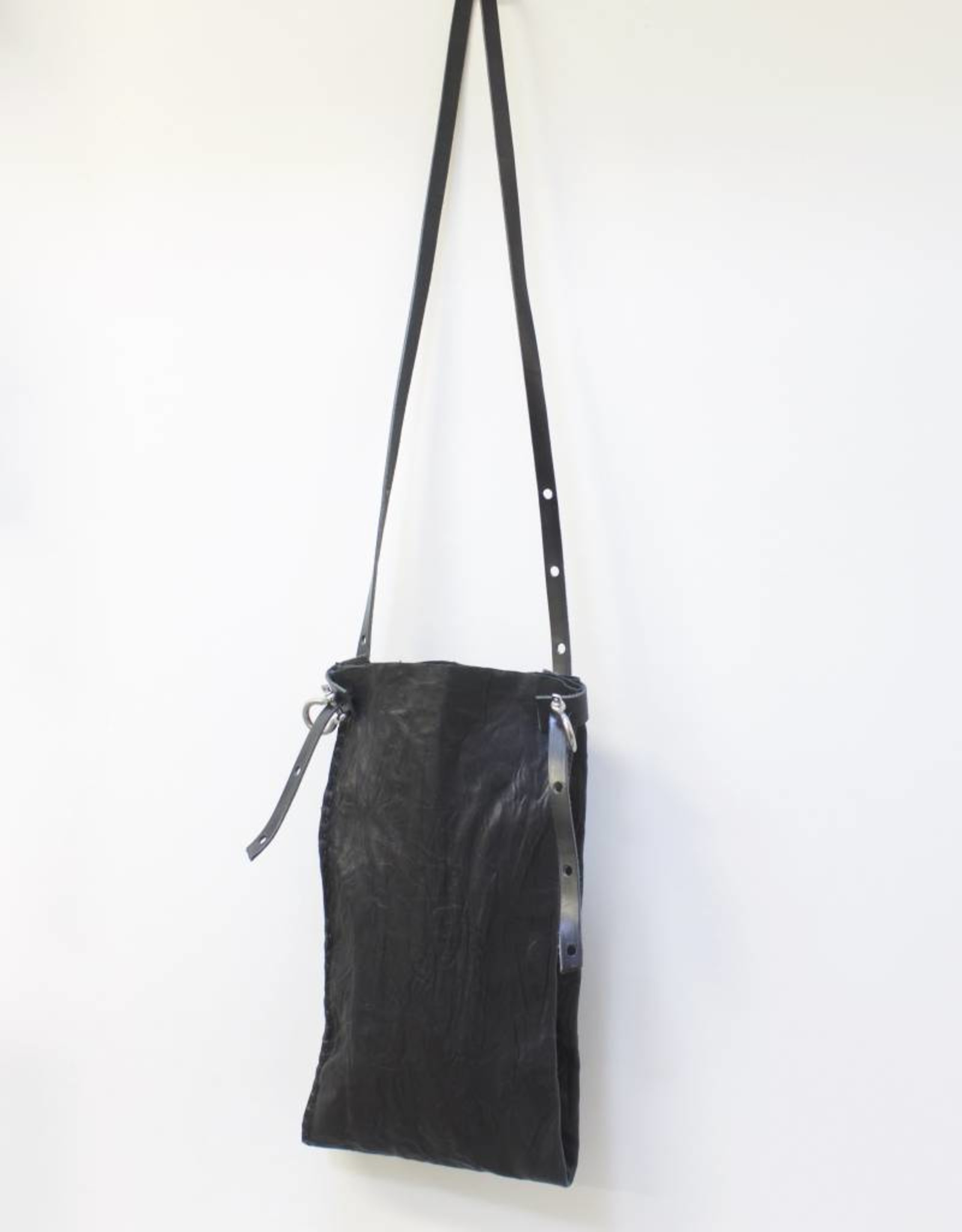 Engso Hand Crafted Long Double Leather Bag - Black