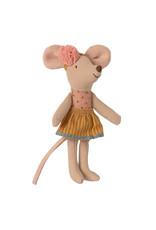 Maileg Little Sister Mouse in Matchbox - Pompom Headband + Goldenrod Skirt