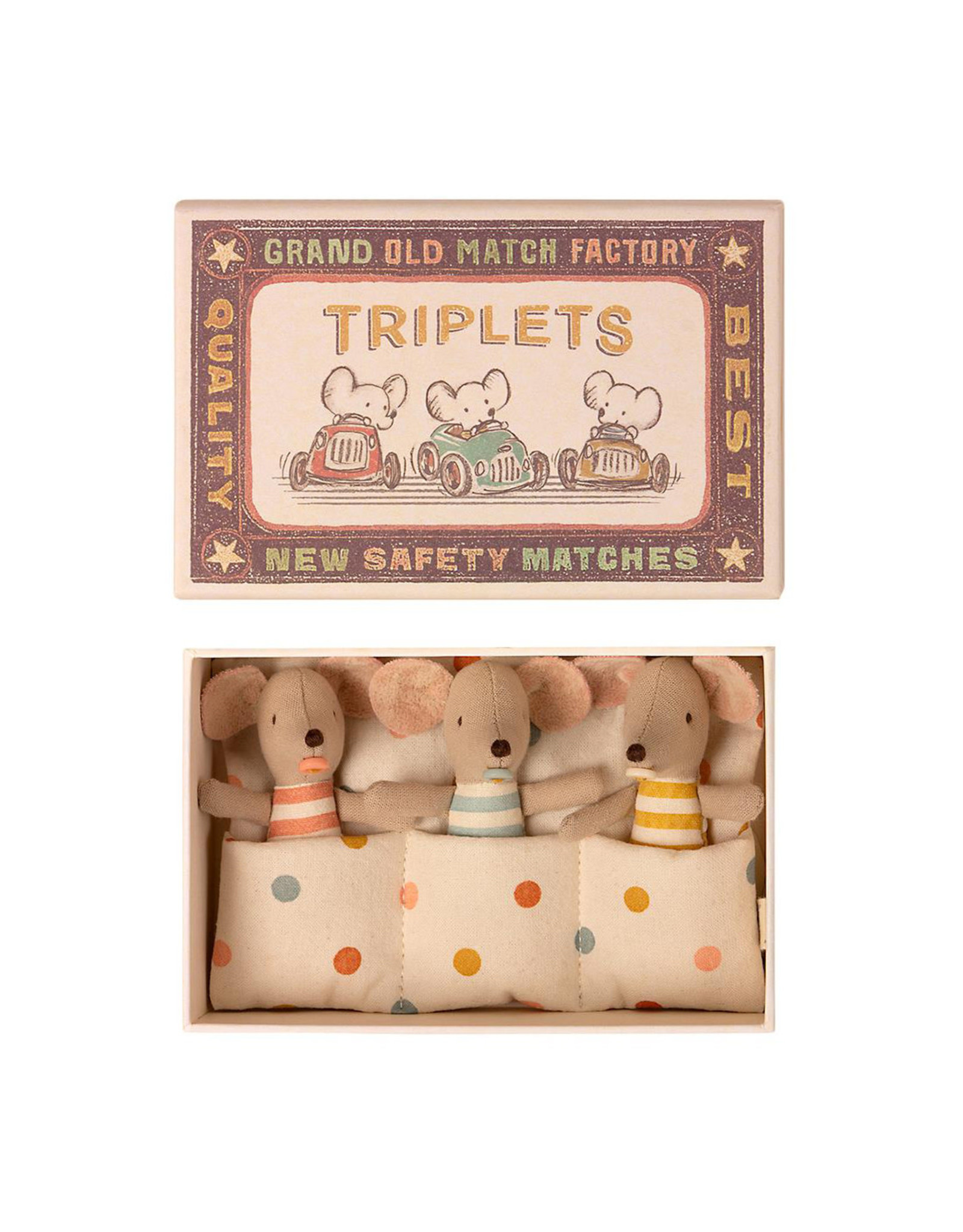 Maileg Baby Triplets in Matchbox - Polkadot Pouch