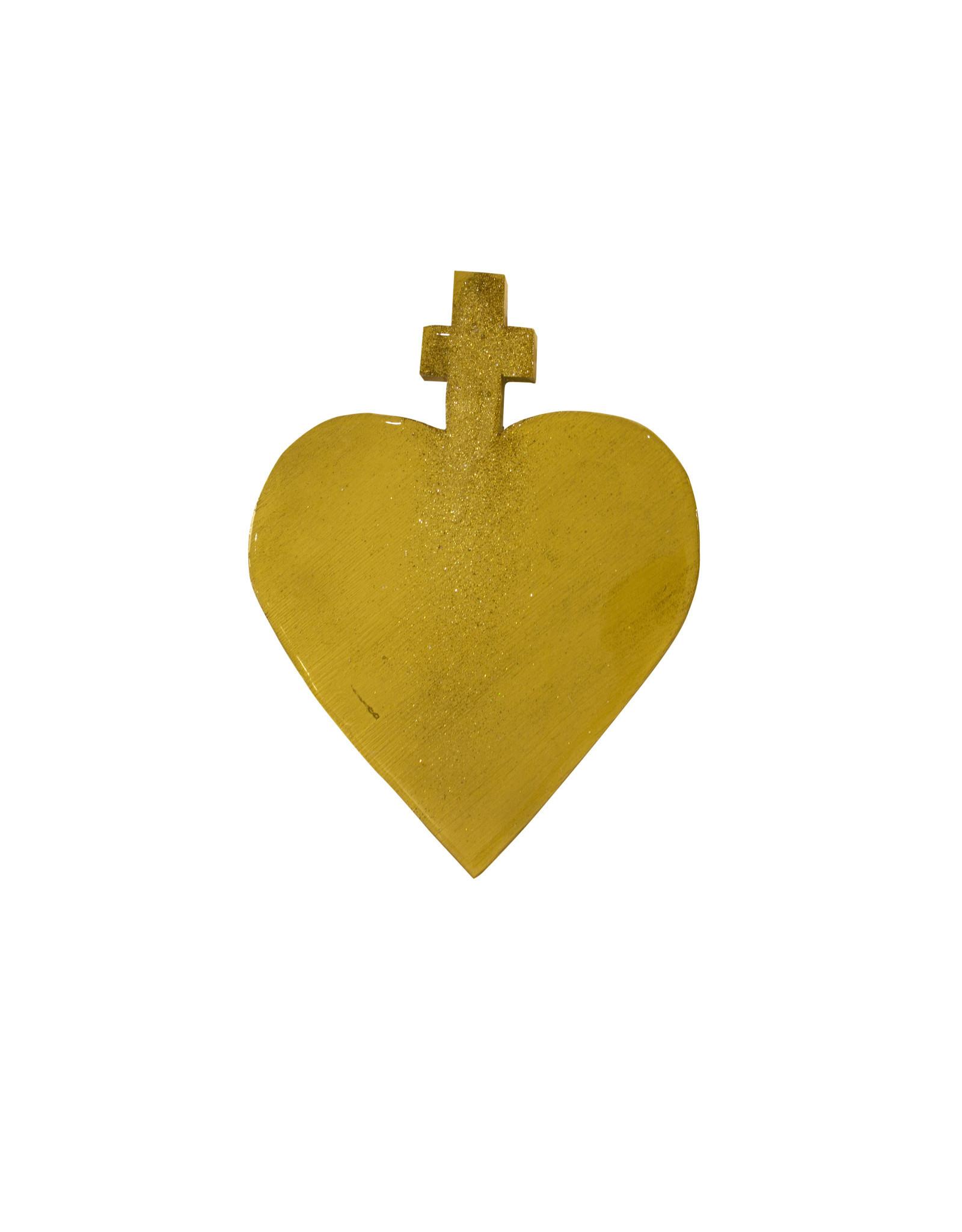 Entouquet Gold Glitter Streak Gold Medium Cross Heart