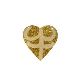 Entouquet Gold Glitter + Blush   Lilac Line Design Medium Heart