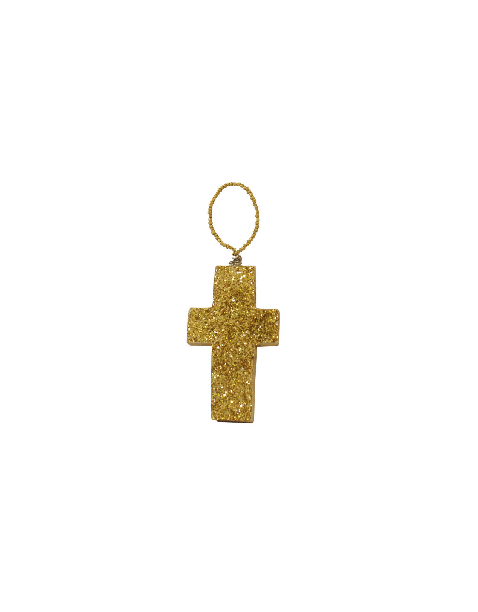Entouquet Gold Glitter Small Cross + Beads on Wire