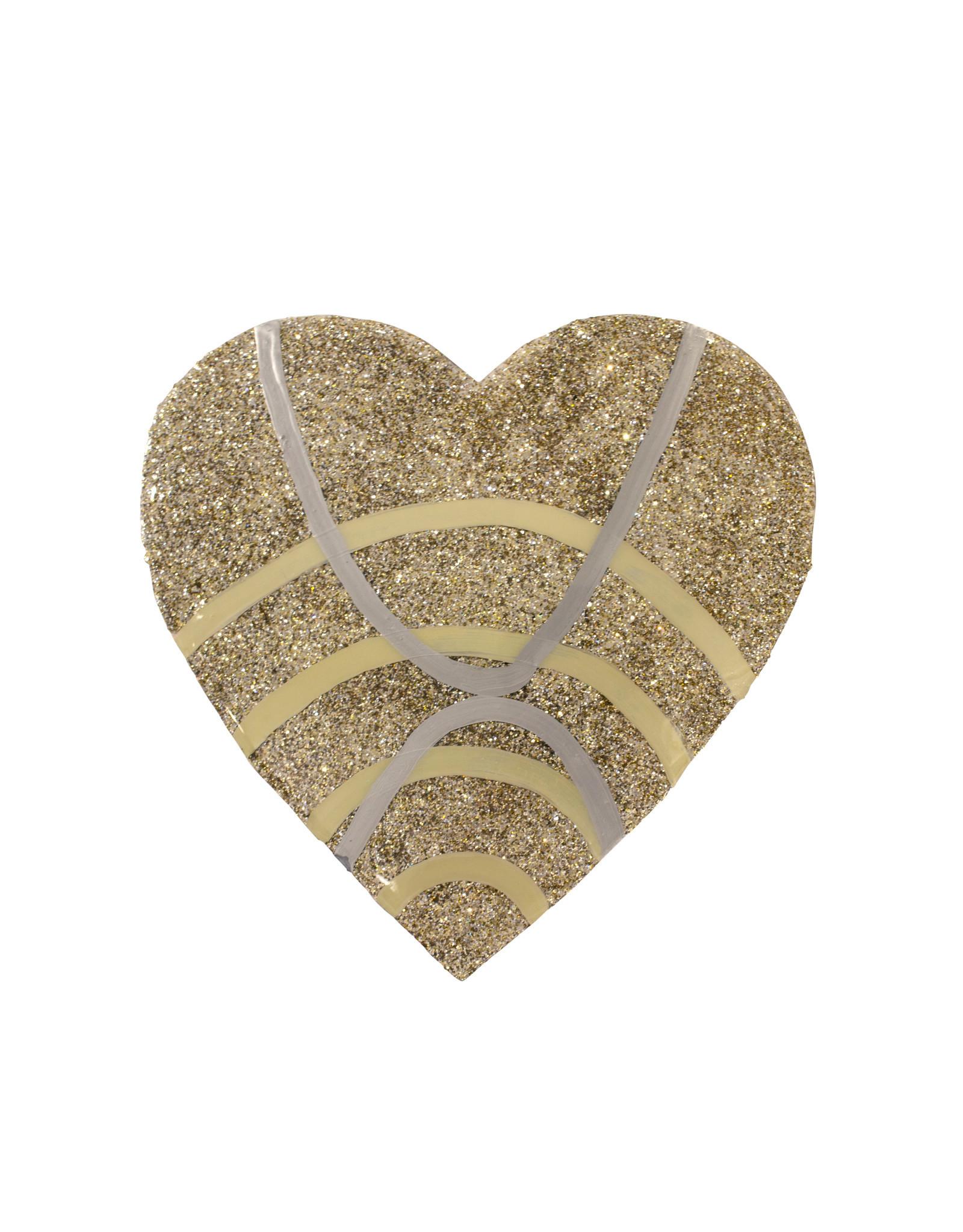Entouquet Champagne Glitter + Silver | Cream Line Design Large Heart