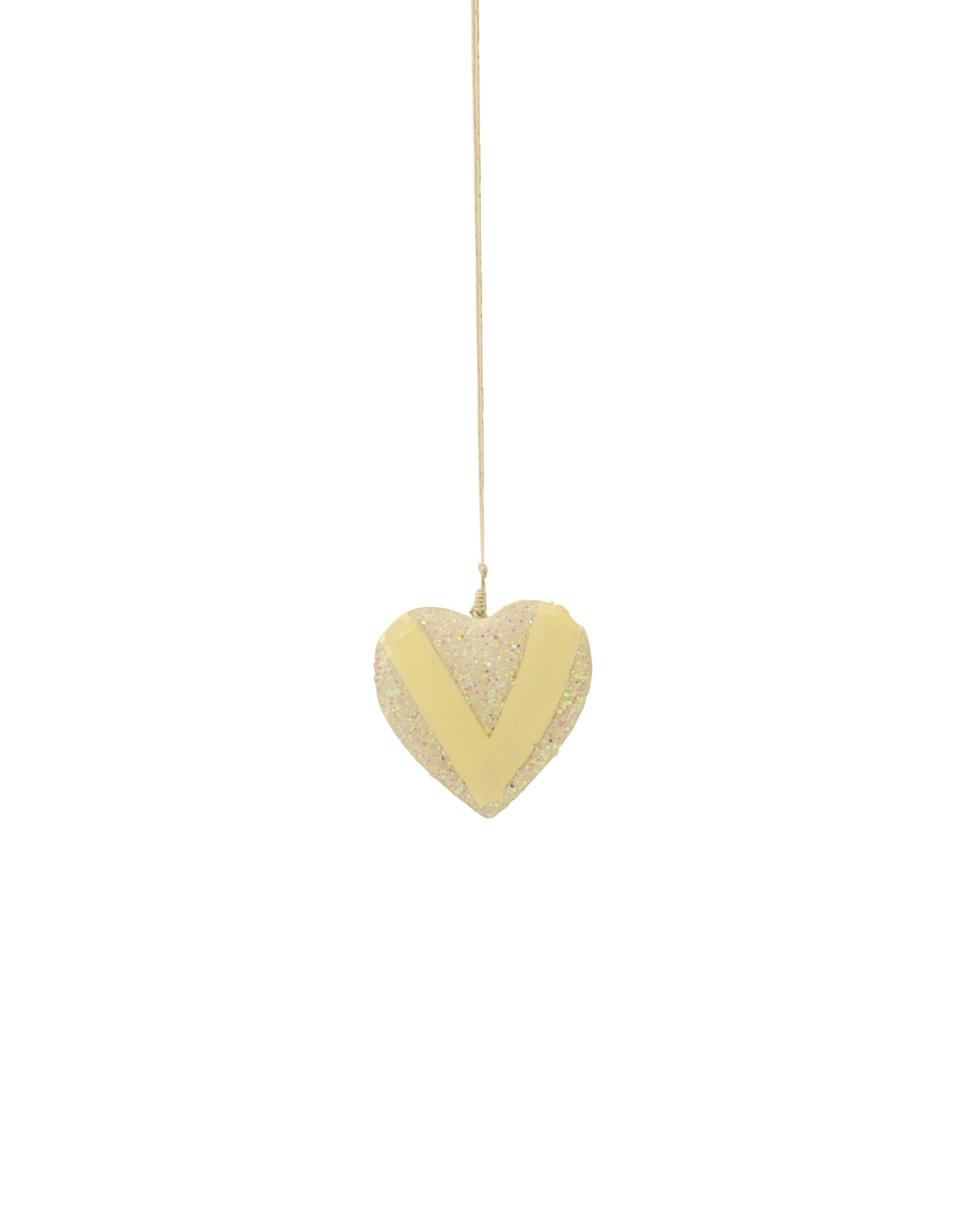 Entouquet White Glitter + Yellow Line Design Extra Small Heart on String