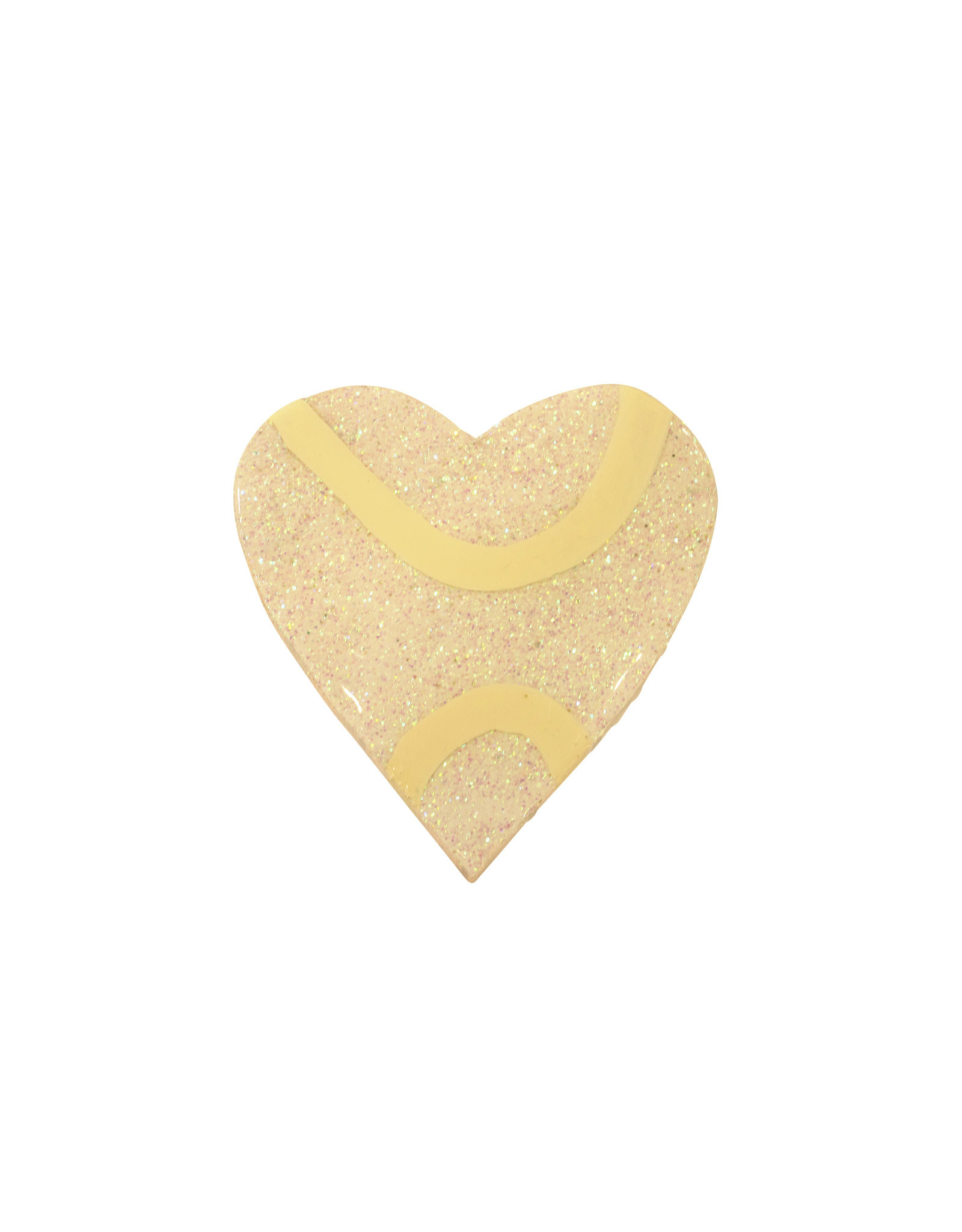 Entouquet White Glitter + Butter Line Design Small Heart