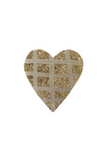 Entouquet Champagne Glitter + Silver Grid Small Heart