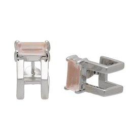 Sarah Mulder Jewelry Catalyst Ear Cuffs - Rhodium w/ Rose Quartz