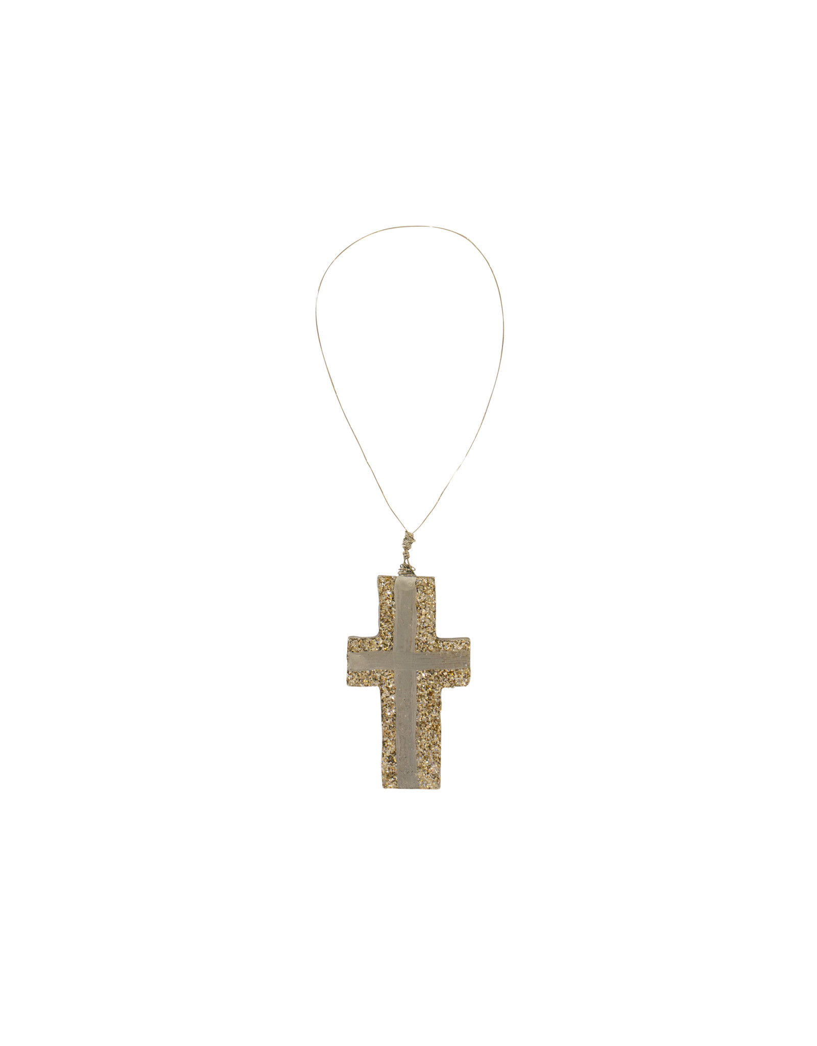 Entouquet Champagne Glitter + Silver Line Design Small Cross on Wire
