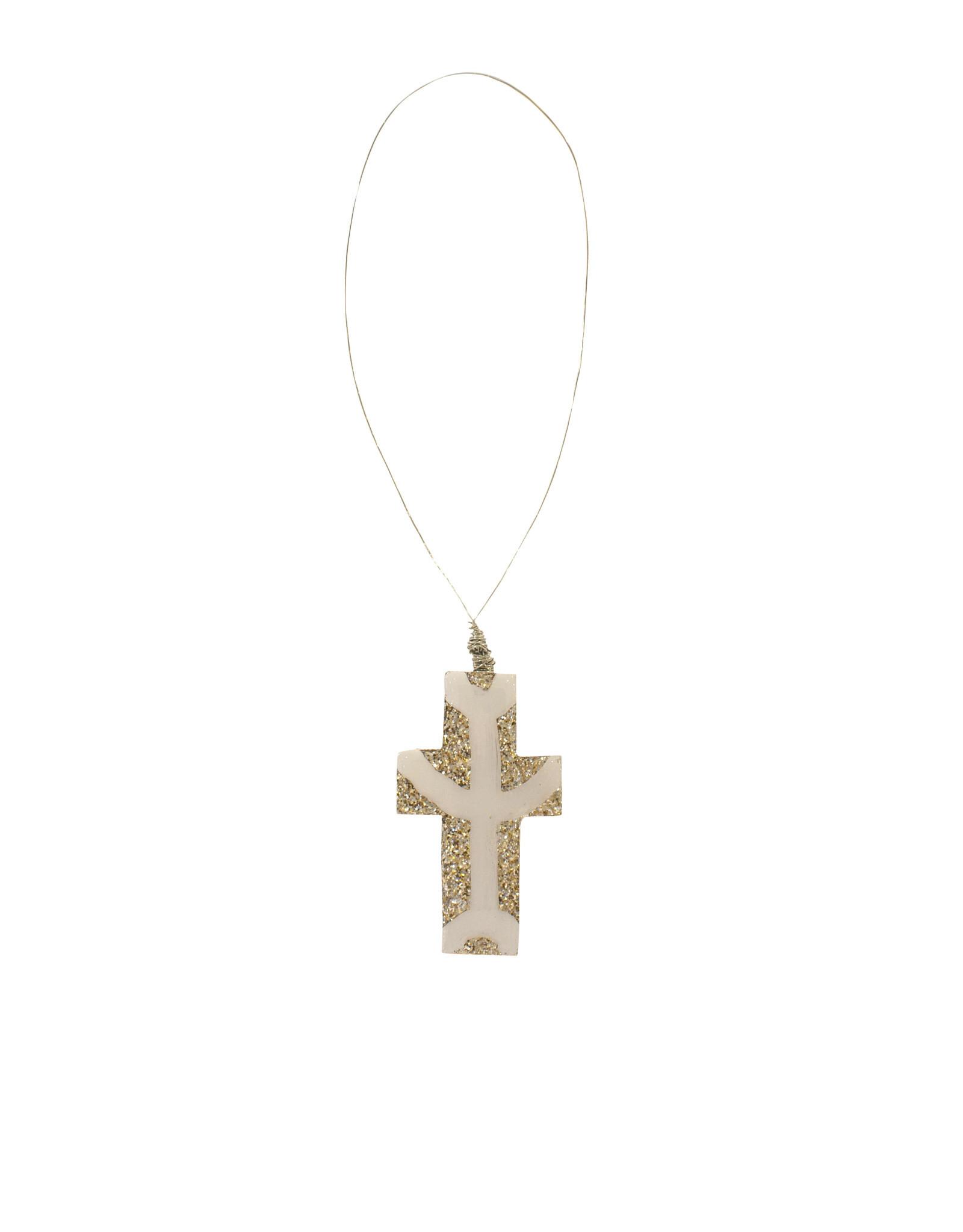 Entouquet Champagne Glitter + Line Design Small Cross on Wire
