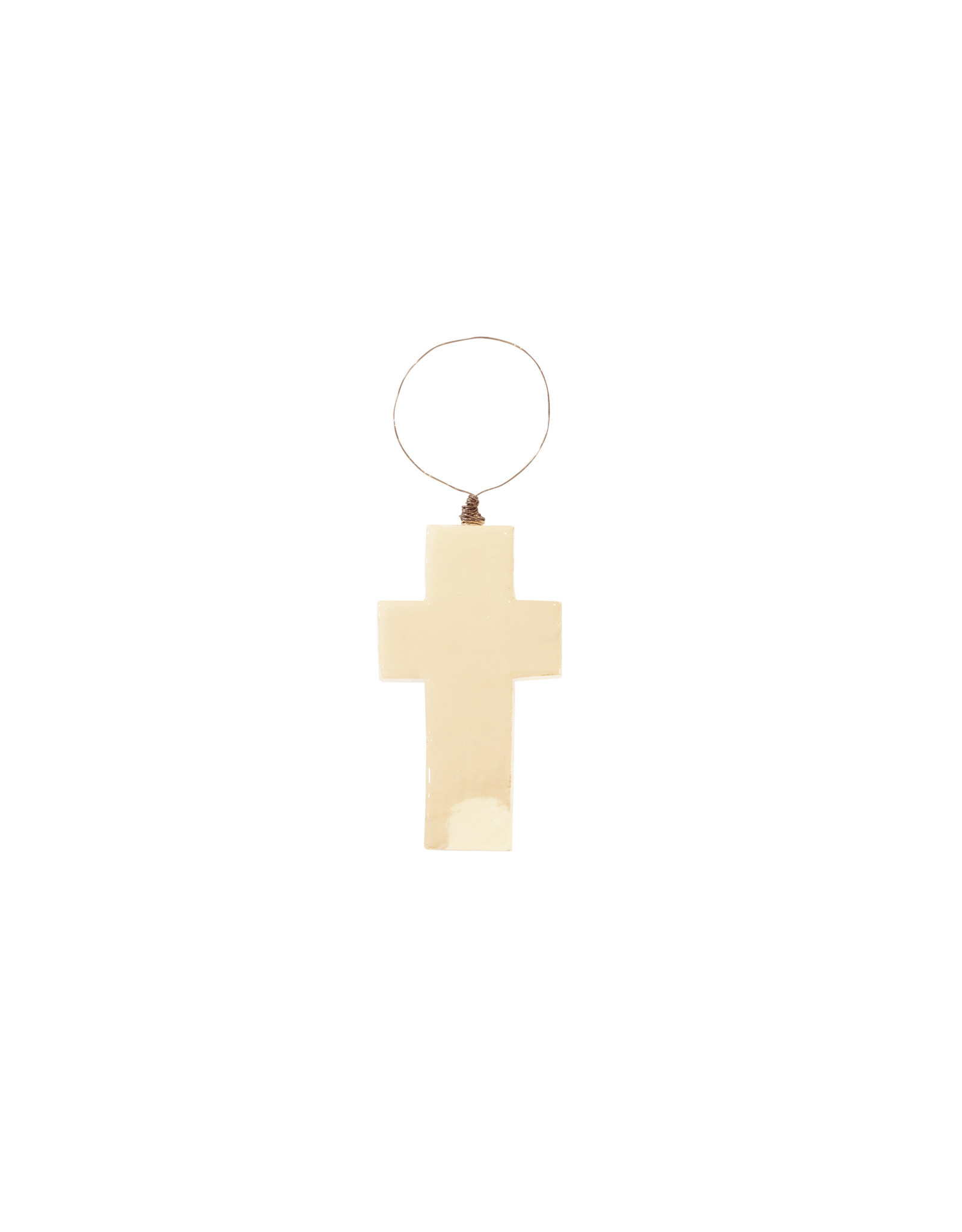 Entouquet Putty + White Stripe Small Cross on Wire