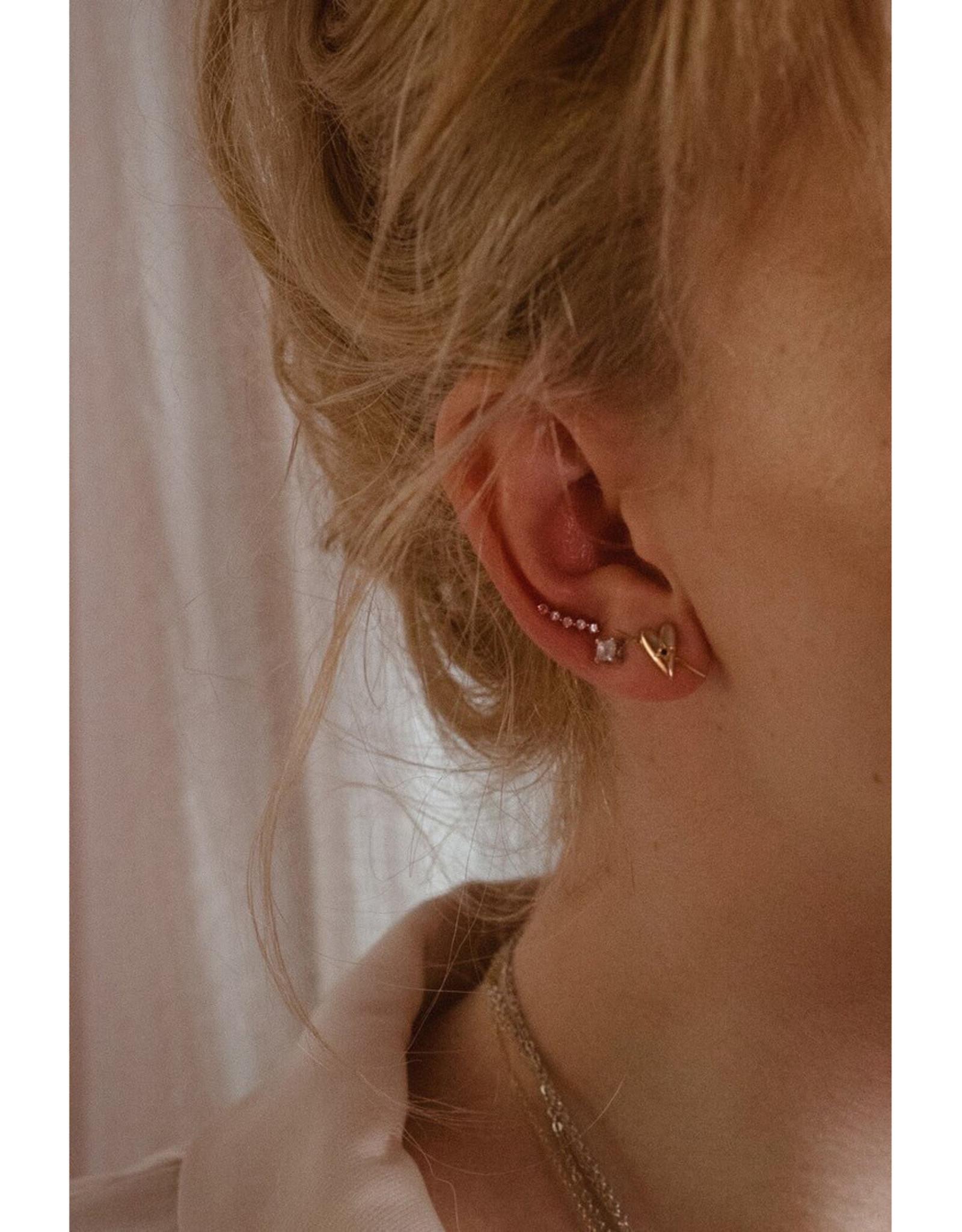 Sarah Mulder Jewelry Silver Lady Ear Climbers - Rose Quartz