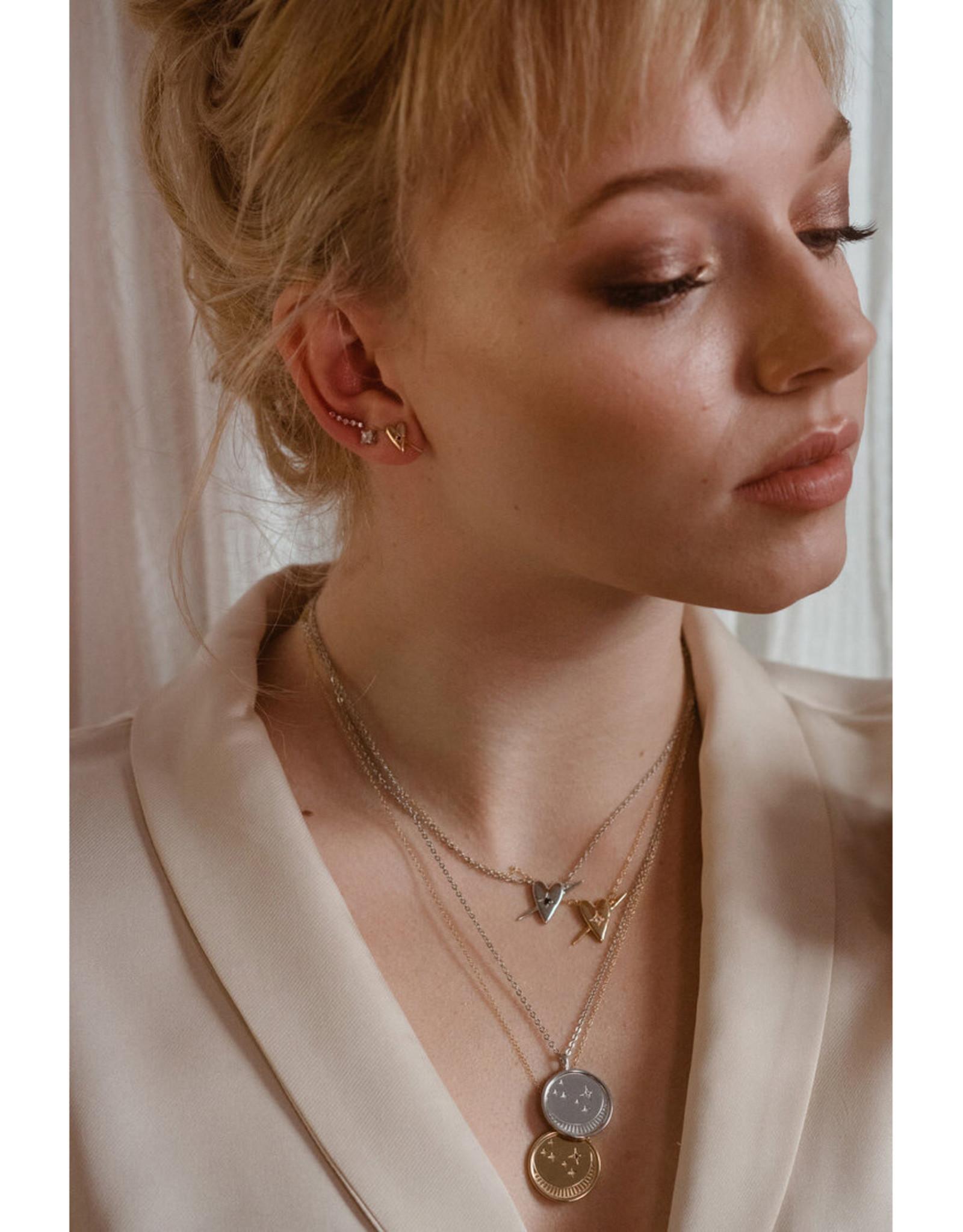 Sarah Mulder Jewelry Gold Lady Ear Climbers - Rose Quartz