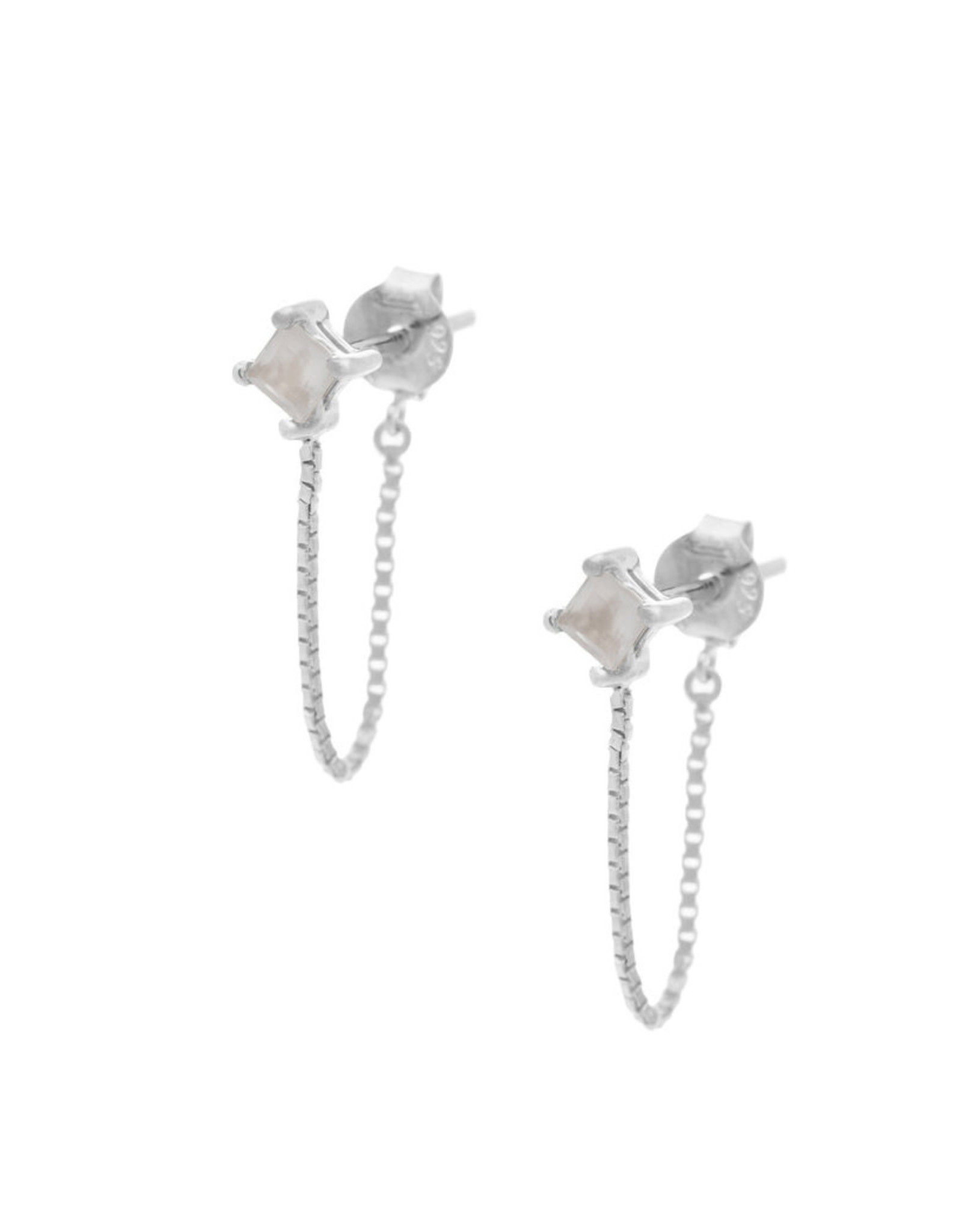 Sarah Mulder Jewelry Silver Alex Short Chain Studs - Rose Quartz