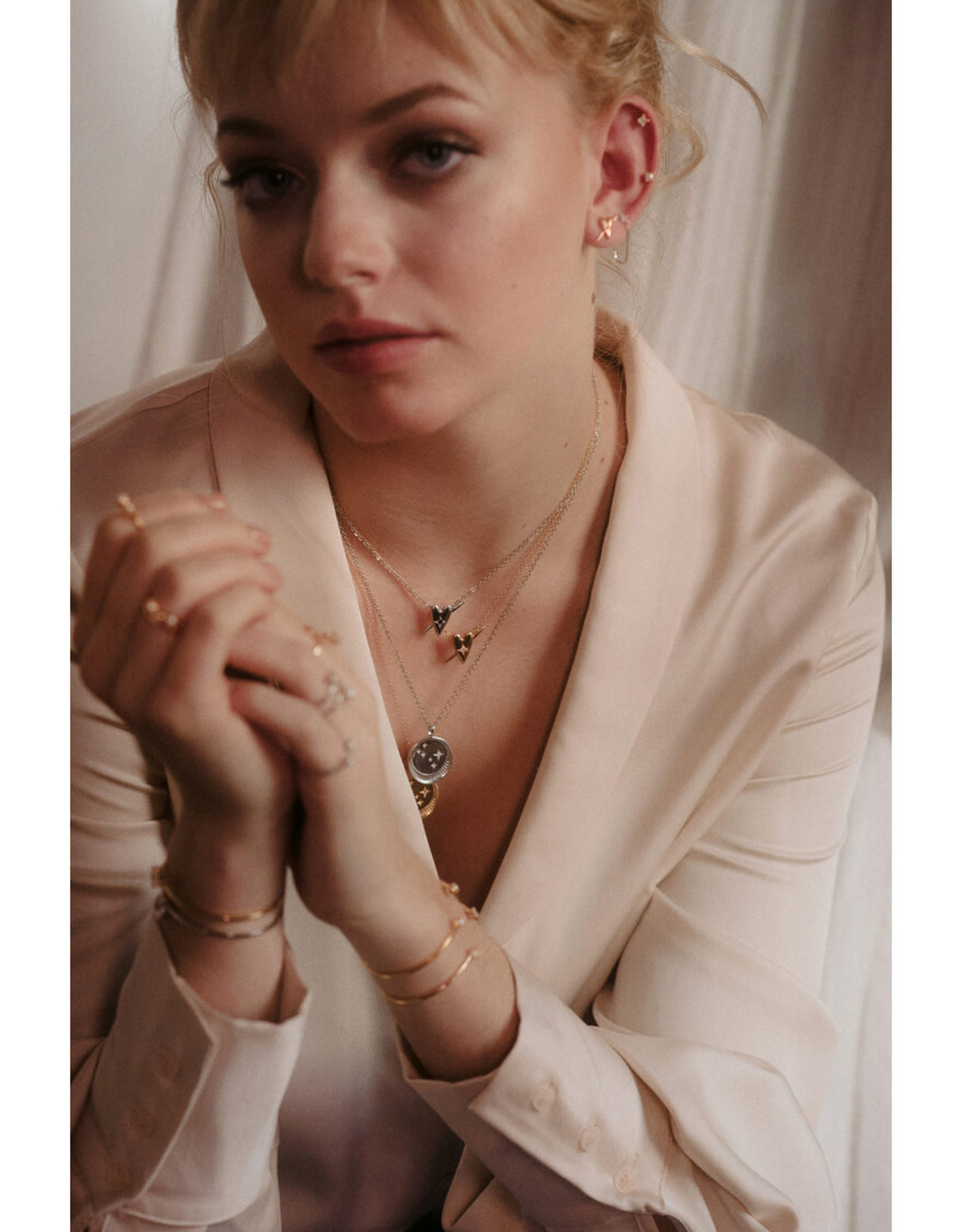 Sarah Mulder Jewelry Silver Alex Short Chain Studs - Onyx