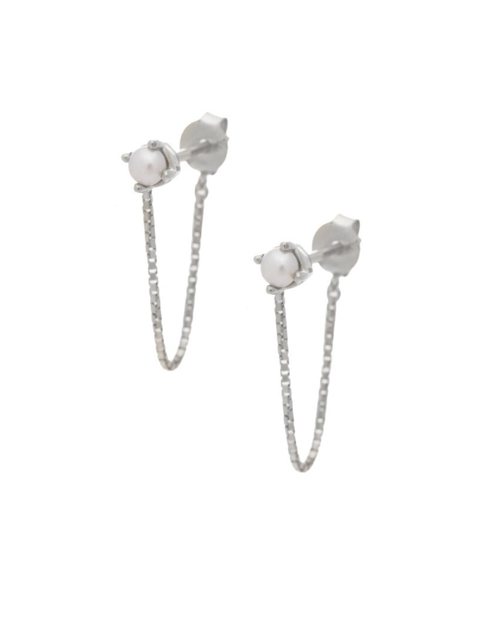 Sarah Mulder Jewelry Silver Alex Short Chain Studs - Pearl