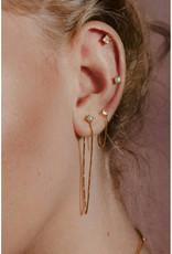 Sarah Mulder Jewelry Gold Alex Short Chain Studs - Rose Quartz