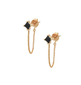 Sarah Mulder Jewelry Gold Alex Short Chain Studs - Onyx