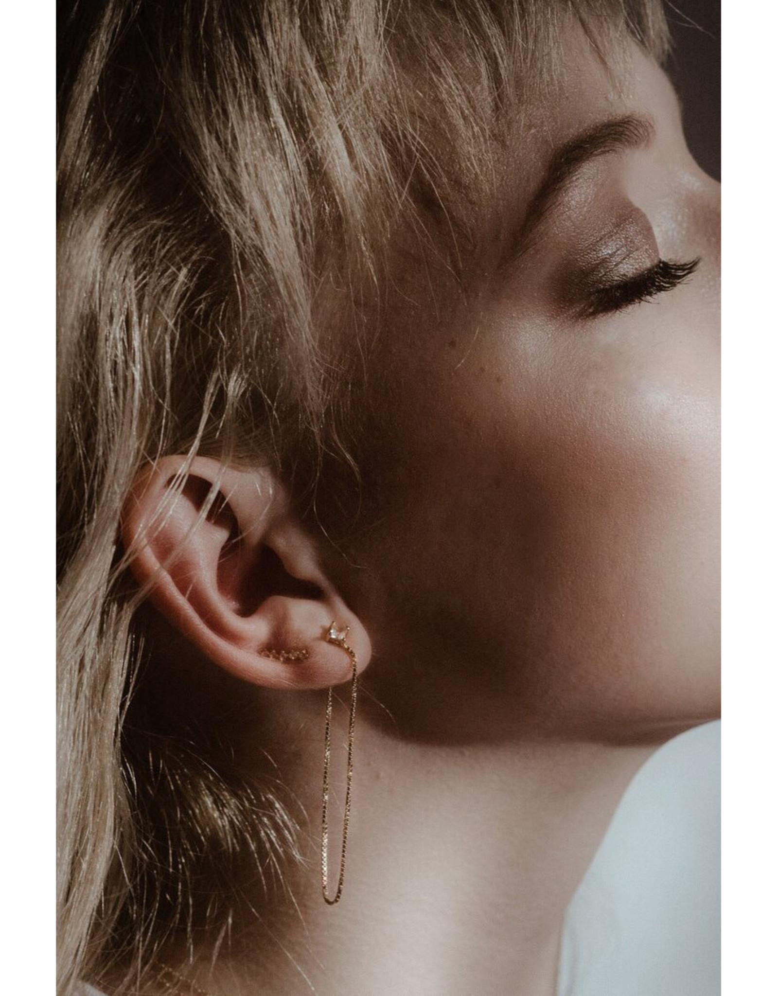 Sarah Mulder Jewelry Silver Alex Long Chain Studs - Rose Quartz