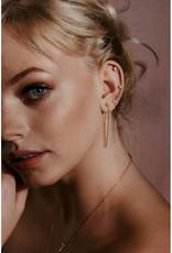 Sarah Mulder Jewelry Gold Alex Long Chain Studs - Rose Quartz