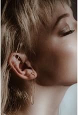 Sarah Mulder Jewelry Silver Alex Long Chain Studs - Onyx