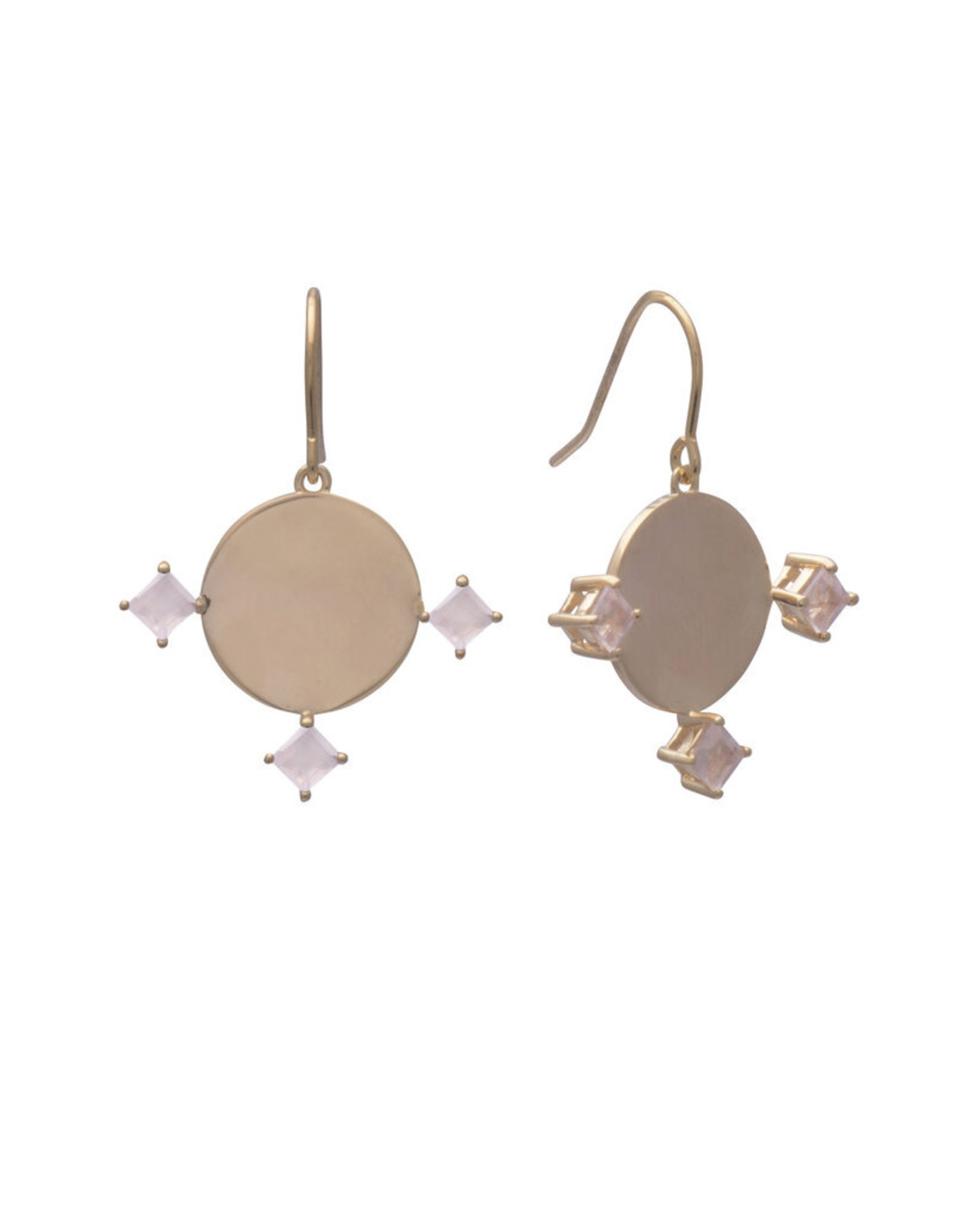 Sarah Mulder Jewelry Gold Imperial Earrings - Rose Quartz