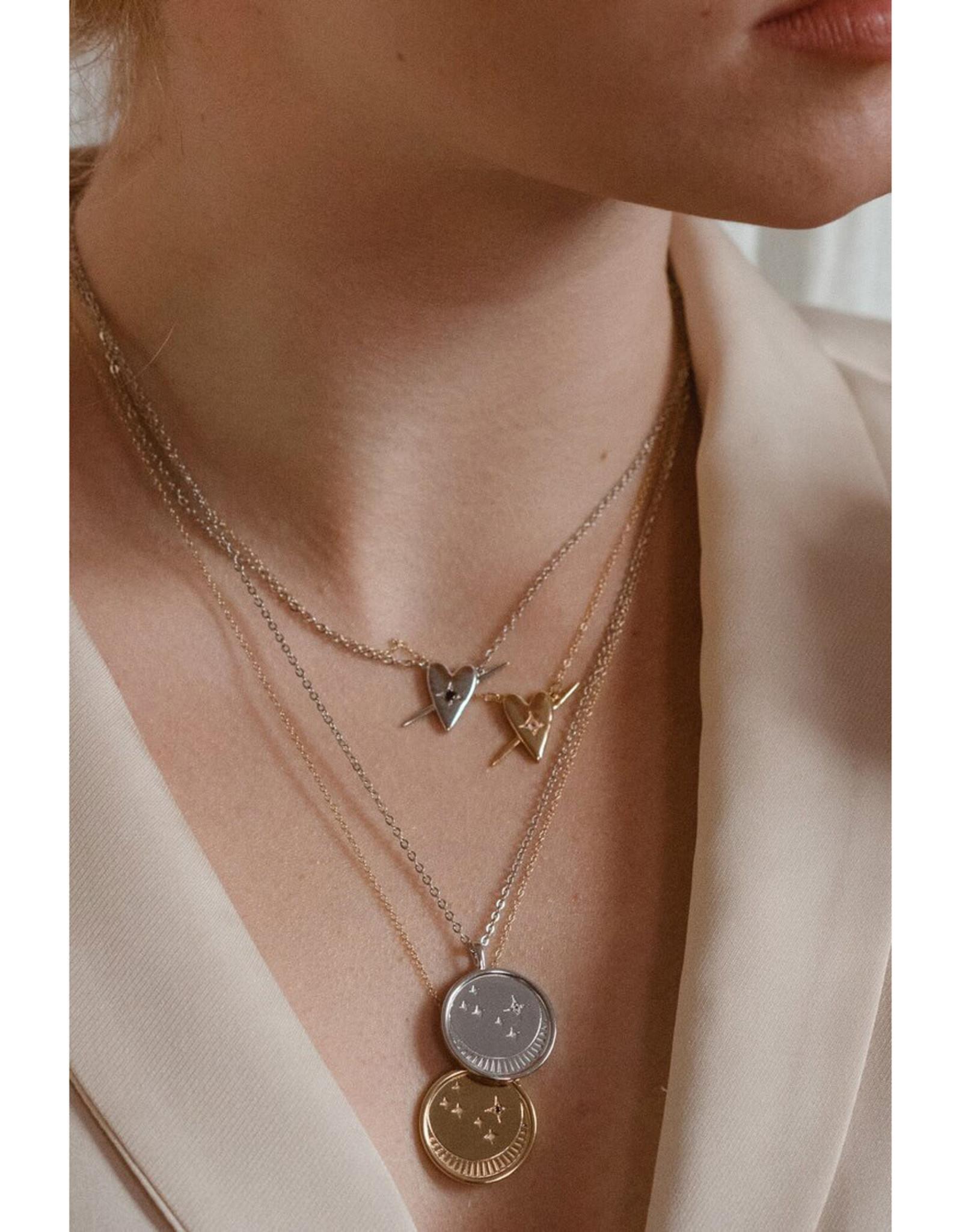 Sarah Mulder Jewelry Gold Franz Necklace - Rose Quartz