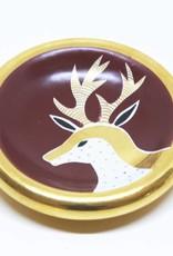Waylande Gregory Studios Black Cherry Reindeer Bullet Bowl - Gold