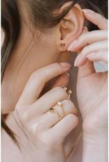 Sarah Mulder Jewelry Silver Cassie Ring - Rose Quartz + Pearl - 6