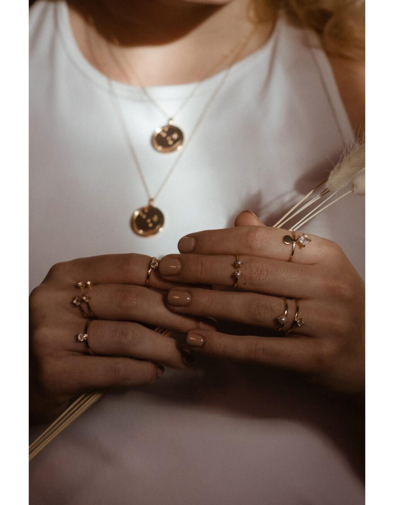 Sarah Mulder Jewelry Silver Cassie Ring - Rose Quartz + Pearl - 8
